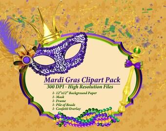 Mardi Gras Clip Art, Masquerade Clipart, Mask Clipart