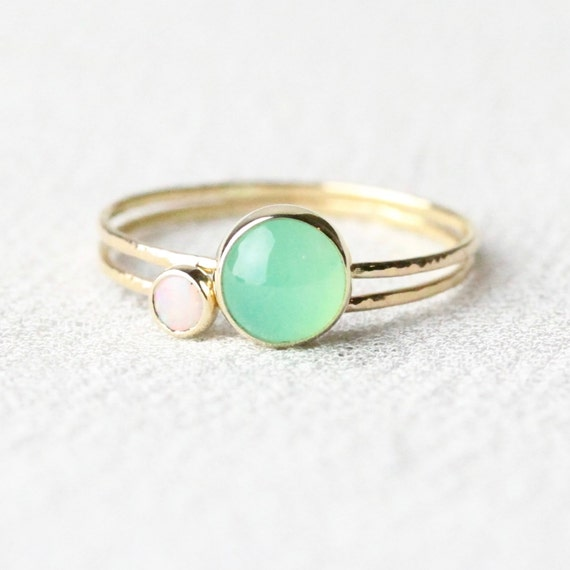 Set of Two Delicate Solid 14k Gold Vivid Green Chrysoprase and Fiery Opal Rings - Simple and Tiny 14k Yellow Gold Dainty Hammered Rings