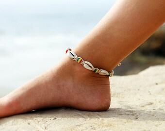 Hemp Anklet,  Rasta Anklet,  Cowry Shell Anklet, Beach Anklet,  Bead  Anklet, Hemp Anklets, Hemp Jewelry