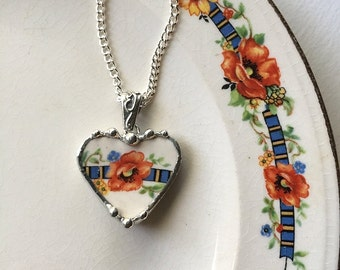 Broken china jewelry heart pendant necklace antique orange poppy poppies made from recycled china