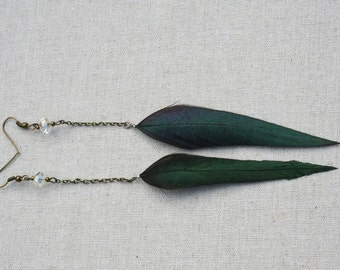 Feather chain earring - Crystal drop chain green shimmer rooster feather earrings - Rooster feather earring - Feather chain earring