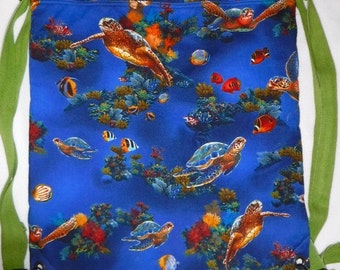 Sea Turtles - you choose the fabric backpack/tote made to order