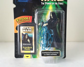 STAR WARS Figure Emperor Palpatine with Force Lightning Bolts - 1990's Kenner Star Wars Toy / Action Figure from Return of the Jedi