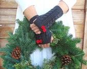 Fingerless Gloves, Knit Fingerless Gloves, Dark Grey Fingerless Gloves Red Bow, Half Finger Gloves, Winter Gloves, Mittens, Arm Warmers