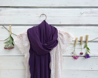 Dark Purple Scarf, Jersey Scarf, Long Scarf, Knit Scarf, Wrap, Shawl, Oversized Scarf, Fall Scarf, Winter Scarf, Gift for Her, Jannysgirl