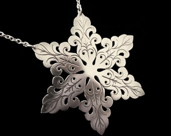 Sterling Silver Snowflake Necklace - Small Ornate Winter Floral Pendant - SKADI