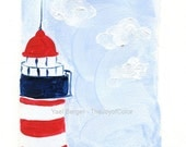 The Lighthouse Art Print/ lighthouse print/ nautical art/ coastal stile/ beach cottage/ nursery decor, Blue sky/ Red/ minimalist landscape