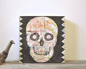 contemporary fine art painting: nunca olvides. original mixed-media art