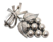 John Lauritzen Denmark Sterling Silver Grapes Pin
