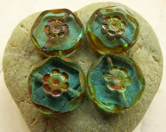 NEW Rustic Beach DAISY COINS . Czech Picasso Glass Beads . 15 mm (6 beads)