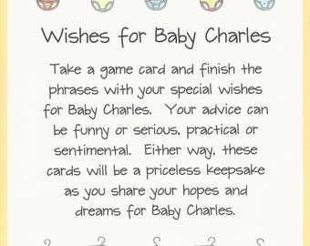 Wishes for Baby - Baby Shower Game, Wishes and Advice Baby Shower Game, Fun & Easy Baby Shower Games, Twins Baby Showers, Message for Baby