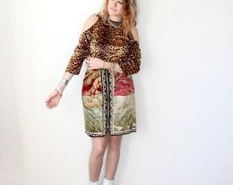 Velvet Leopard Top / Shoulder Cutout Shirt / Cheetah Animal Print Sz M / L