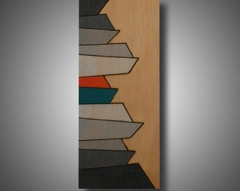 """Small original art on Pine Pyrography and Prismacolor pencil Modern home decor gray orange teal by DeMaris 3.5"""" x 9"""" Abstract on wood"""