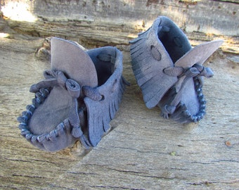 "Baby Moccasins By Desi, Soft Smokey Blue Deerskin leather, 3 3/4"" long, Boho, Shoes, Boy, Girl, Tribal, Aztec, Winter Wear, Denim Jean Blue"