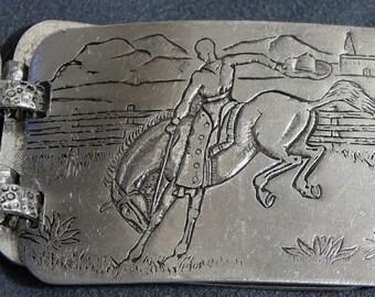Western Cowboy Aluminum Belt Bucking Bronco Branding Calf Vintage