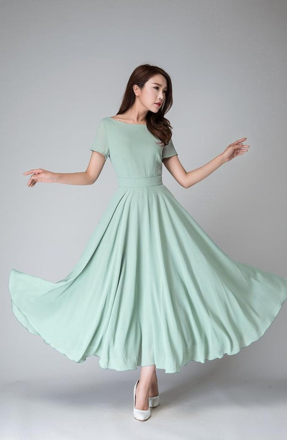 Bridesmaid dress, swing dress, fit and flare dress, vintage style dress, green dress, chiffon dress, wedding dress, made to order  1521