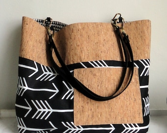 Arrow tote, Black Travel Tote, Cork Tote Purse, Cork shoulderbag with leather straps, Schoolbag, Shopping bag