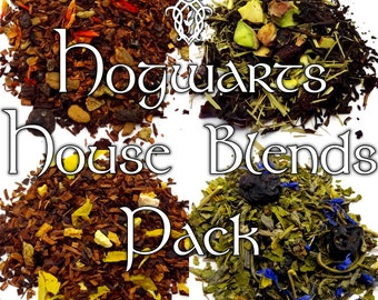 Hogwarts House Blends Pack- Gryffindor, Slytherin, Hufflepuff, Ravenclaw, dessert tea, Harry Potter gift, fandom tea, witches and wizards