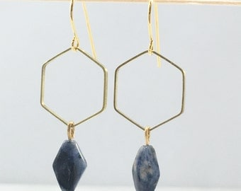 Kyanite Hexagon Earrings | Brass | E11612