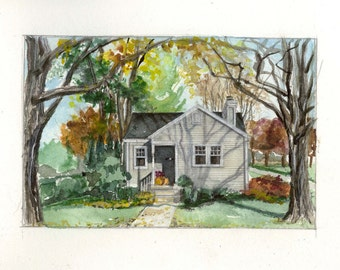 CUSTOM ORIGINAL WATERCOLOR of Your Home - House Portrait