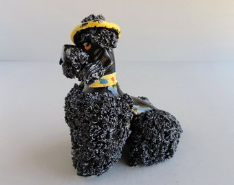 Vintage French Poodle Figurine, Mid-Century Dog in Atomic Beret Hat Figural, Black Spaghetti Coconut Trim