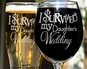 Parents Wedding Gift, I Survived My Daughters Wedding, Mom Dad Wedding Gift Glasses Gift for Inlaws Mother Father of the Bride