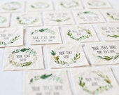 Botanical Wreath Labels - Eco Friendly Sewing Tags, 100% Organic Cotton, Personalized