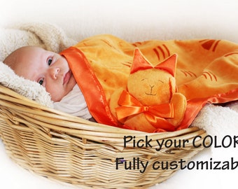 Orange Minky Tiger Cat Security Blanket, Lovey Blanket, Satin, Baby Blanket, Stuffed Animal, Baby Toy - Customize Color - Add Monogramming