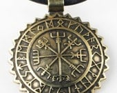 Viking Vegvisir Nautical Nordic Compass Pendant with Rune Calendar - Bronze Key Ring - Valentine Gift