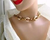 70s Choker Necklace Vintage Costume Jewelry White Enamel Links