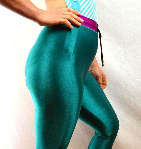 Vintage 80s Green Shiny Spandex Leggings Pants