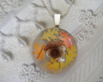 Real Frosted Acorn Resin Half Dome Pendant-Tiny Real Oak Leaves-Woodsy, Rustic,Earthy-Nature's Wearable Art-Gifts Under 30-Autumn's Best
