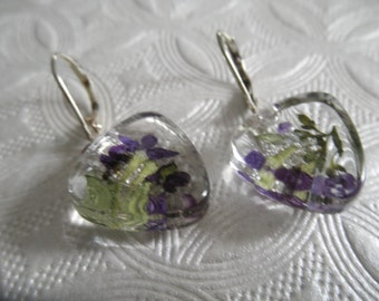 Purple Alyssum,Ferns Pressed Flower Glass Triangle Leverback Earrings-Symbolizes Worth Beyond Beauty-Nature's Art-Gifts Under 30