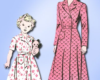 1940s Vintage Advance Sewing Pattern 4105 Toddler Girls Robe or Housecoat Size 4
