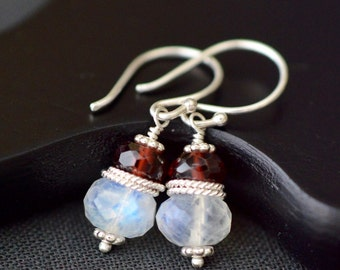 Moonstone Garnet Earrings / Sterling Silver / Gemstone Earrings / Beaded Earrings / Stacked Earrings / Red and White Holiday Jewelry