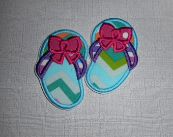 Free  ShippingReady to Ship Flip Flops  Fabric   iron on applique