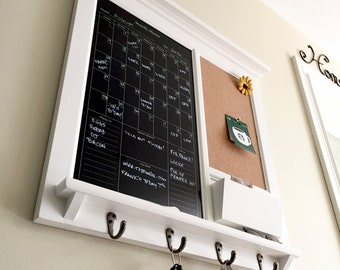 Dry Erase Calendar Bulletin Board Family Calendar with Mail Pocket Organizer Storage Shelf with pen holder and Keyhooks