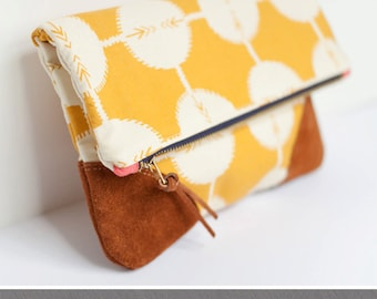 PDF Sewing Pattern - Leather Accent Fold Over Pouch