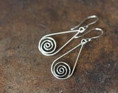 Silver Drop Earrings, 925 sterling silver earrings, metal Celtic spirals in teardrop dangle, Celtic earrings, simple everyday earrings