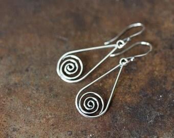Silver Drop Earrings, 925 sterling silver earrings, metal Celtic spirals in teardrop dangle, Celtic earrings, simple everyday earrings