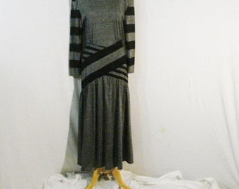 Gray Dress Vintage Sterling Silver Avant Garde Couture Dress Long Chic Sophisticated Gray & Black Chic
