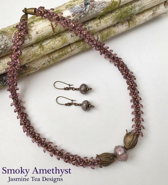 Smoky Amethyst Beaded Kumihimo Necklace with Earrings