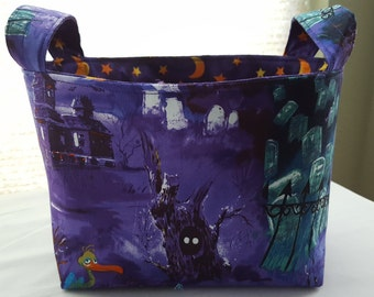 Halloween Fabric Organizer Basket Container Bin Storage  Purple Pelican