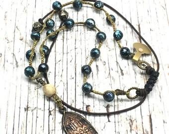 Braided Pearl Neckalace , Boho style with Buddha