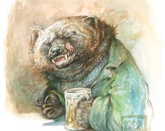 Winking Wolverine - original art watercolor painting