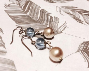 Earrings - Dangle - Romantic - Pale Blue Glass and Vintage Pearls - Antique Bronze
