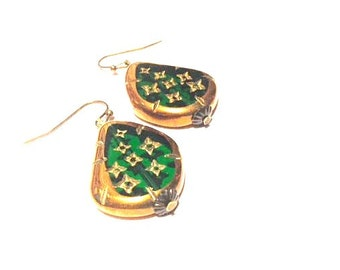 Earrings - Emerald Green and Antique Bronze