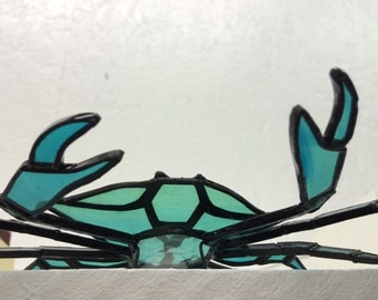 Blue Crab 3D Stained Glass Sculpture