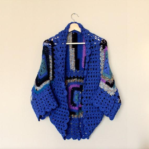 Crochet cardigan blue cardigan handmade cardigan hand knit cardigan oversized crochet shrug blanket cardigan boho cardigan girlfriend gift