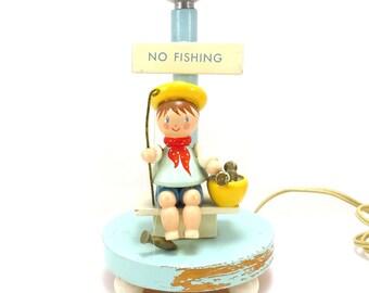 IRMI No Fishing Nursery Lamp Vintage 1960s Little Boy's Bedroom Lamp